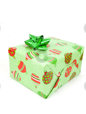 Single Present stock photo, Single Present on a white background with bow by John Teeter