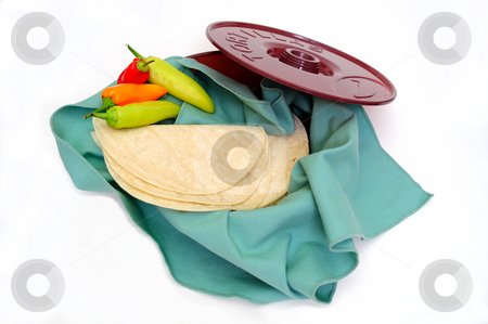 Tortilla Wamer And Tortillas stock photo, Plastic tortilla warmer and  tortillas on a white background. by Lynn Bendickson