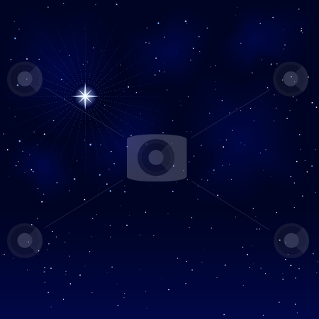 Peaceful starry night, silent and tranquil stock vector clipart, Square abstract background. Peaceful, tranquil and silent. Use of 9 global colors, blends. by Ina Wendrock