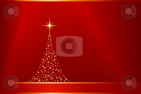 Abstract red golden vector background with Christmas tree and copy-space stock vector clipart, Horizontal red golden Christmas background with a Christmas tree made of stars. 12 global colors, linear gradients, clipping mask, blend. Artwork grouped and layered. by Ina Wendrock