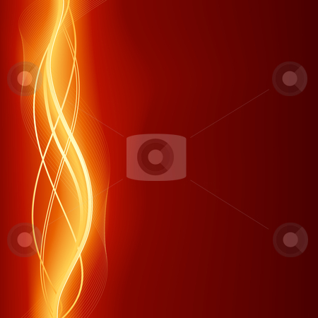 Glowing abstract wave background in flaming red golden  stock vector clipart, Use of global colors and gradients, blends and clipping masks. by Ina Wendrock