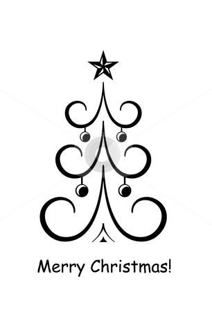 Merry Christmas! stock vector clipart, Simple stylised Christmas tree with baubles and star by Ina Wendrock
