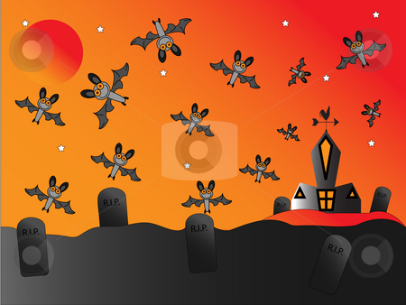 Bats around Church stock photo, Bats flying around a church and graveyard by Stephen Clarke