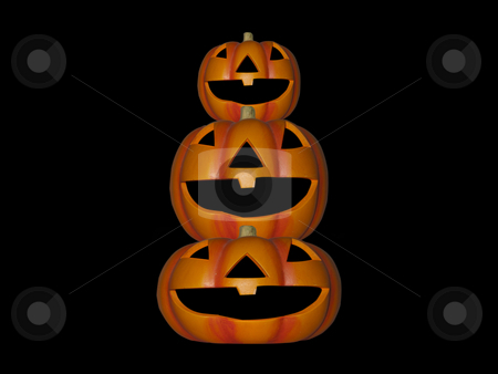 Pumpkin Stack stock photo, A stack of pumpkins on a black background by Stephen Clarke