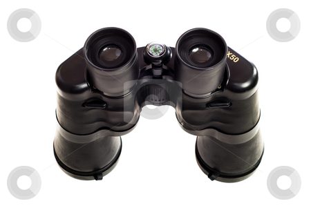 Isolated Binoculars stock photo, A set of binoculars isolated against a white background by Richard Nelson