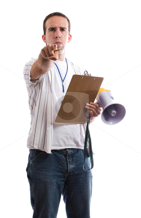 Sports Coach stock photo, A sports coach pointing at the viewer, isolated against a white background by Richard Nelson