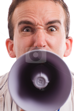 Yelling Man stock photo, Closeup view of an angry man yelling at the viewer with a megaphone by Richard Nelson