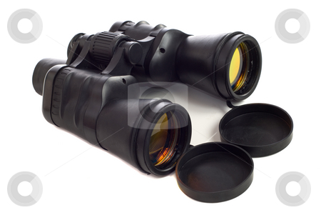 Binoculars stock photo, A set of binoculars with coated lens, shot on a white background by Richard Nelson