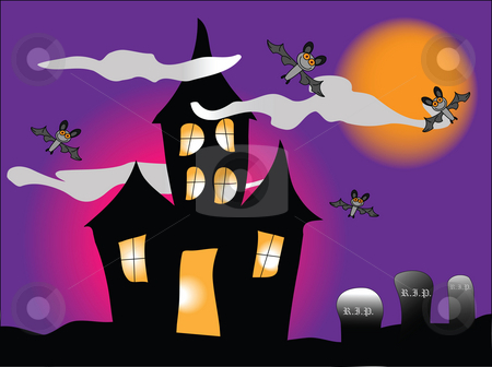 Haunted House stock photo, A haunted house with bats under a spooky orange sky by Stephen Clarke