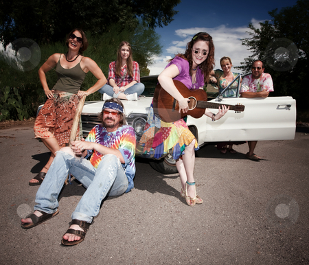 Groovy Group stock photo, Mixed group of happy modern adult hippies by Scott Griessel