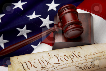 American justice still life stock photo, Gavel, and U.S. Constitution shot on American flag by James Barber