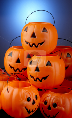 Stack-O-Lanterns stock photo, Pile of plastic Halloween jack-o-lanterns by James Barber