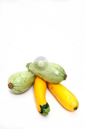 Squash On White stock photo, Lebanese White Bush Marrow, an heirloom type squash and yellow hybrid zucchini  squash on a white background by Lynn Bendickson
