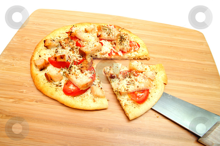 Chicken Pizza stock photo, Gourmet veggie pizza topped with chicken, asiago cheese, fresh tomatoes and dried herbs by Lynn Bendickson