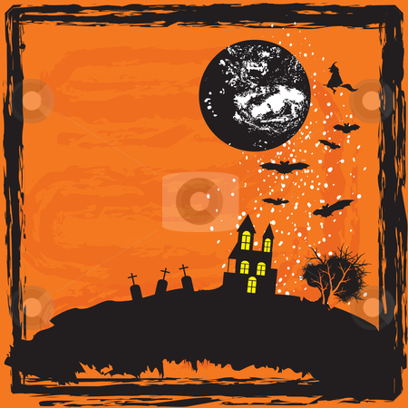 Halloween background stock vector clipart, Halloween scary background vector illustration by Milsi Art