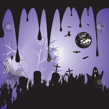 Halloween background stock vector clipart, Halloween scary background, vector illustration by Milsi Art