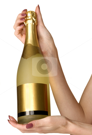 Champagne stock photo, Golden champagne, isolated on white, close up by Desislava Draganova
