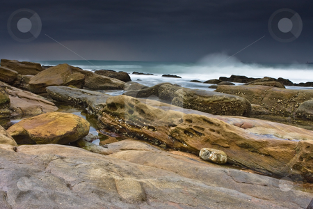 The Rock stock photo, Rocky shore and beach of Umhlanga near Durban by Adriaan Van den Berg