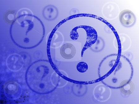Question Mark Background stock photo, Blue and white background with many question marks by Henrik Lehnerer