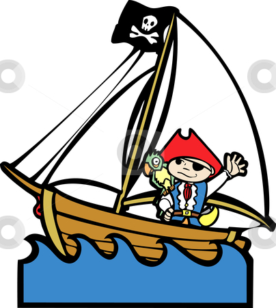 Pirate Boat with Boy #1 stock vector clipart, Simple children's boat image with boy in pirate costume. by Jeffrey Thompson