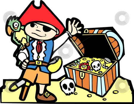 Pirate with Treasure Chest stock vector clipart, Pirate treasure chest with gold coins, skulls  and boy in pirate costume. by Jeffrey Thompson