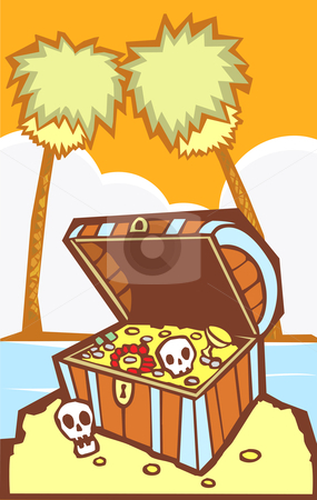 Treasure Chest with Palm trees stock vector clipart, Pirate Treasure chest on a south sea's island. by Jeffrey Thompson
