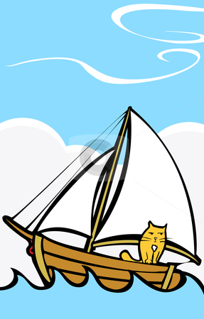 Cat at Sea stock vector clipart, Orange cat taking a trip on a boat at sea. by Jeffrey Thompson