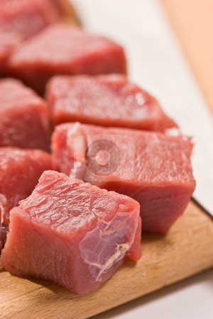 Beef stock photo, Food serias: raw fresh meat sliced in cube by Gennady Kravetsky