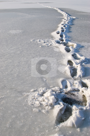 Frozen steps stock photo, Nature series: frozen steps in ice on the river by Gennady Kravetsky