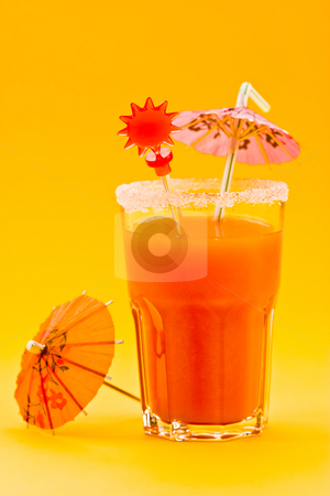 Tropical coctail stock photo, Drink series: tropical cocktail with orange over yellow by Gennady Kravetsky