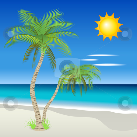 Tropical beach stock vector clipart, Vector illustration of palm trees on a tropical beach by Laurent Renault