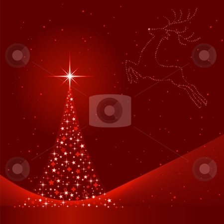 Red abstract Christmas background with Christmas tree and reindeer stock vector clipart, Square red background for Christmas showing a Christmas tree made of stars and the silhouette of a reindeer in the sky. 6 Global colors, blends. Artwork grouped and layered. by Ina Wendrock