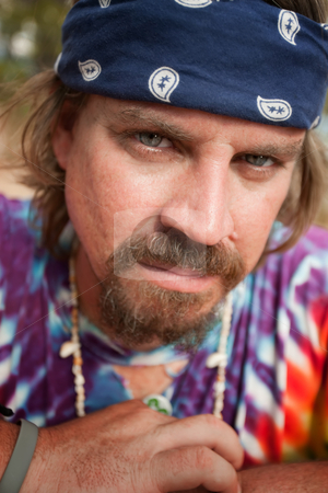 Hippie stock photo, Close up shot of colorful adult hippie by Scott Griessel