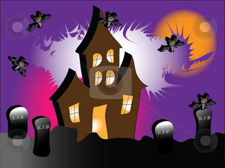Haunted House stock photo, A haunted house with bats under a spooky purple sky by Stephen Clarke