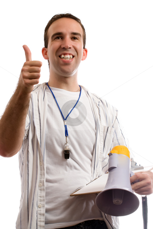 Nice Effort stock photo, A young coach is giving his team a thumbs up, while holding his megaphone and clipboard by Richard Nelson