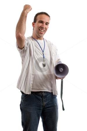 Winner stock photo, A coach is shaking his fist in the air, excited that his team is winning, isolated against a white background by Richard Nelson