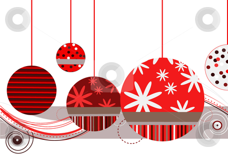 Christmas Ornaments in Red stock vector clipart, Christmas Ornaments in Red with abstract design on a white background by x7vector