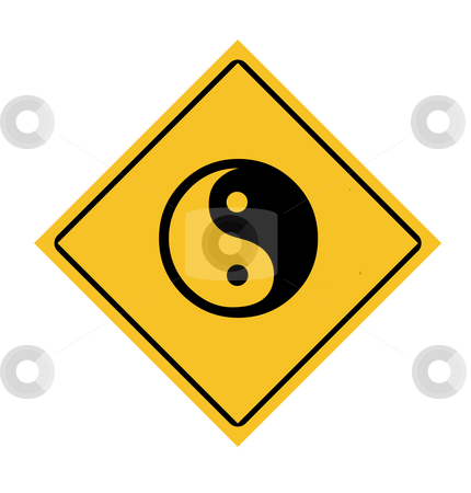Yin and Yang road sign stock photo, Yellow diamond yin and yang road sign, isolated on white background. by Martin Crowdy