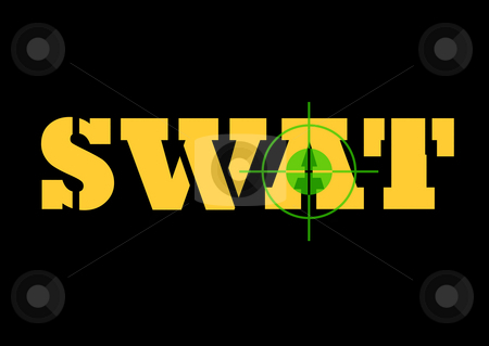 Swat sign and rifle sight stock photo, Telescopic night sign over top of S.W.A.T sign, isolated on black background. by Martin Crowdy