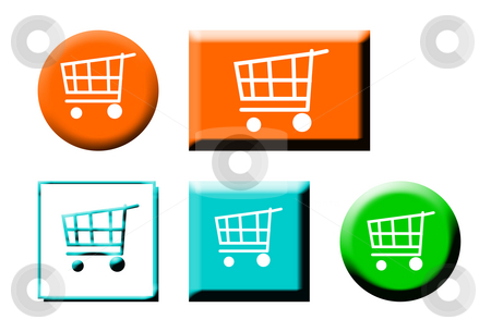 Shopping cart icons stock photo, Set of shopping cart button icons, isolated on white background. by Martin Crowdy
