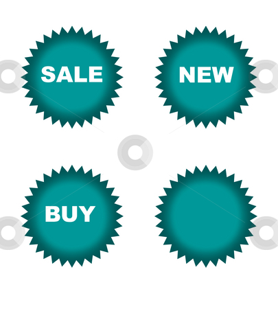 Retail sale stickers stock photo, Colorful star shaped retails stickers isolated on white background. by Martin Crowdy
