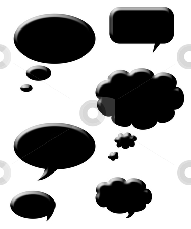 Silhouetted speech bubbles stock photo, Black silhouetted speech bubbles, isolated on white background. by Martin Crowdy