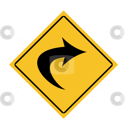 Directional traffic sign stock photo, Traffic road sign with right turn arrow. by Martin Crowdy