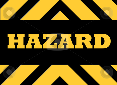 Hazard warning sign stock photo, Hazard warning sign in yellow and black. by Martin Crowdy