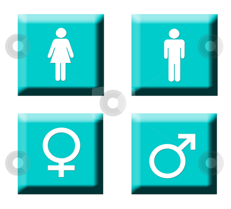 Gender symbol buttons stock photo, Set of four human gender symbol buttons isolated on white background. by Martin Crowdy