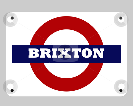 Brixton tube sign stock photo, Illustration of Brixton tube or subway sign, London, England. by Martin Crowdy