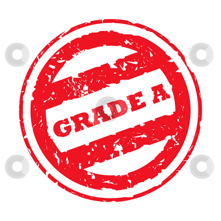Used Grade A stamp stock photo, Red used grade A stamp,. isolated on white background. by Martin Crowdy
