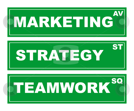 Business signs stock photo, Motivational green business signs isolated on white background, teamwork square, strategy street and marketing avenue. by Martin Crowdy