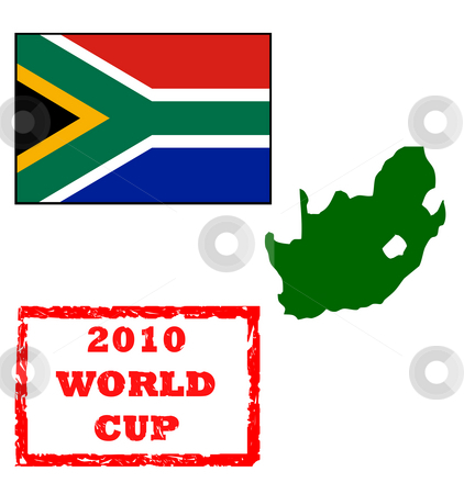 2010 World Cup stock photo, Graphic elements for 2010 World Cup, passport stamp, South Africa flag and map, isolated on white background. by Martin Crowdy