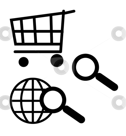 Shopping cart and search icons stock photo, Black silhouetted shopping cart and search icons, isolated, on white background. by Martin Crowdy